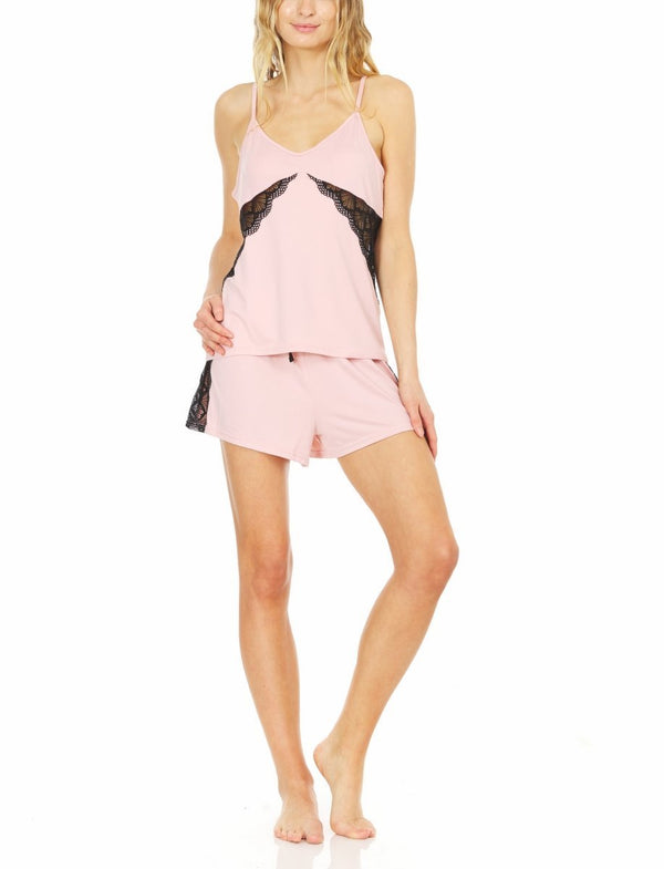 "Laundry by Shelli Segal Womens Yummy Jersey Camisole & Shorts Sleeping Set | Elegant Lightweight Sleepwear w/ Lace Detail | Sleeveless Straps w/ ""V"" Back Cutout 