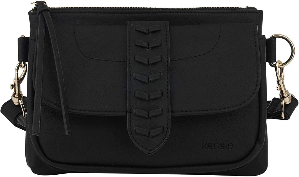 Kensie Women's Whipstitch Belt Bag - Fashion Waist Bag with Adjustable Strap - Crossbody Sling Purse Fanny Pack
