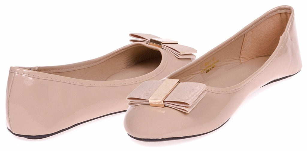 Chatties Ladies Patent Pu Ballet Flat with Bow Size 5/6 (Tan) - (Multiple Colors and Sizes Available)