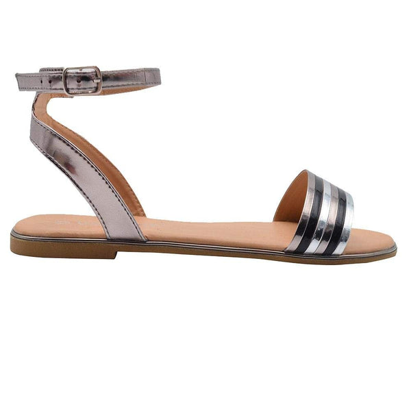 Gold Toe Ladies Fashion Sandals Metallic Ankle Strap Flats