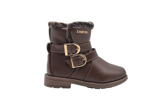 bebe Toddler Girls Little Kid Easy Pull On Mid Calf Winter Boots with Faux Fur Trim and Buckles
