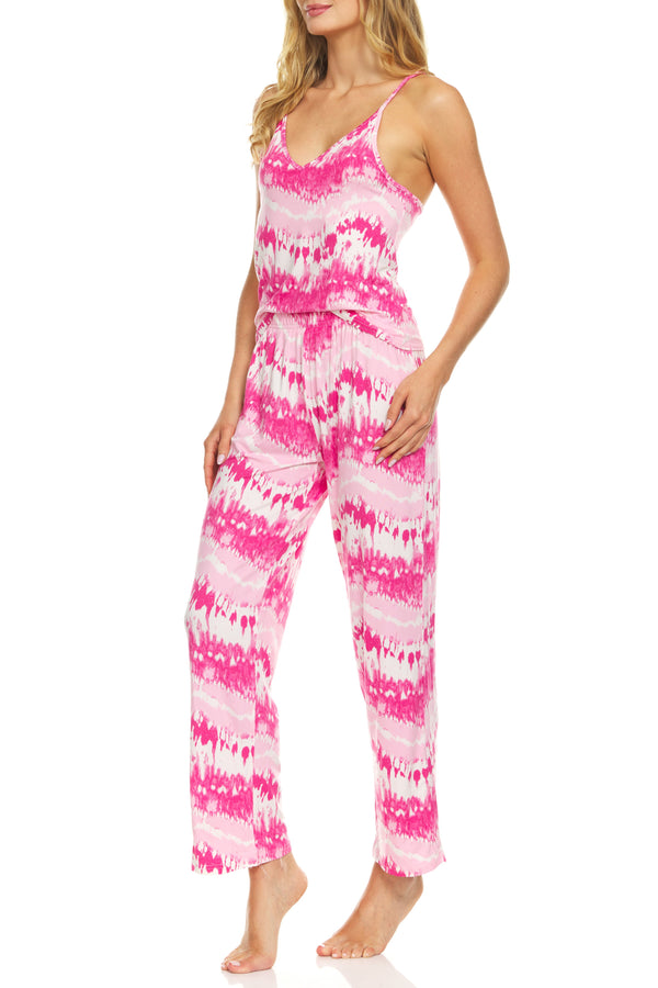 It's Just a Kiss Sleepwear Women's Cute Tie Dye Cami Tank Top and Pyjama Pants Set Soft Comfortable 2-Piece Nightwear PJ Lounge Sets Coral Multi Small