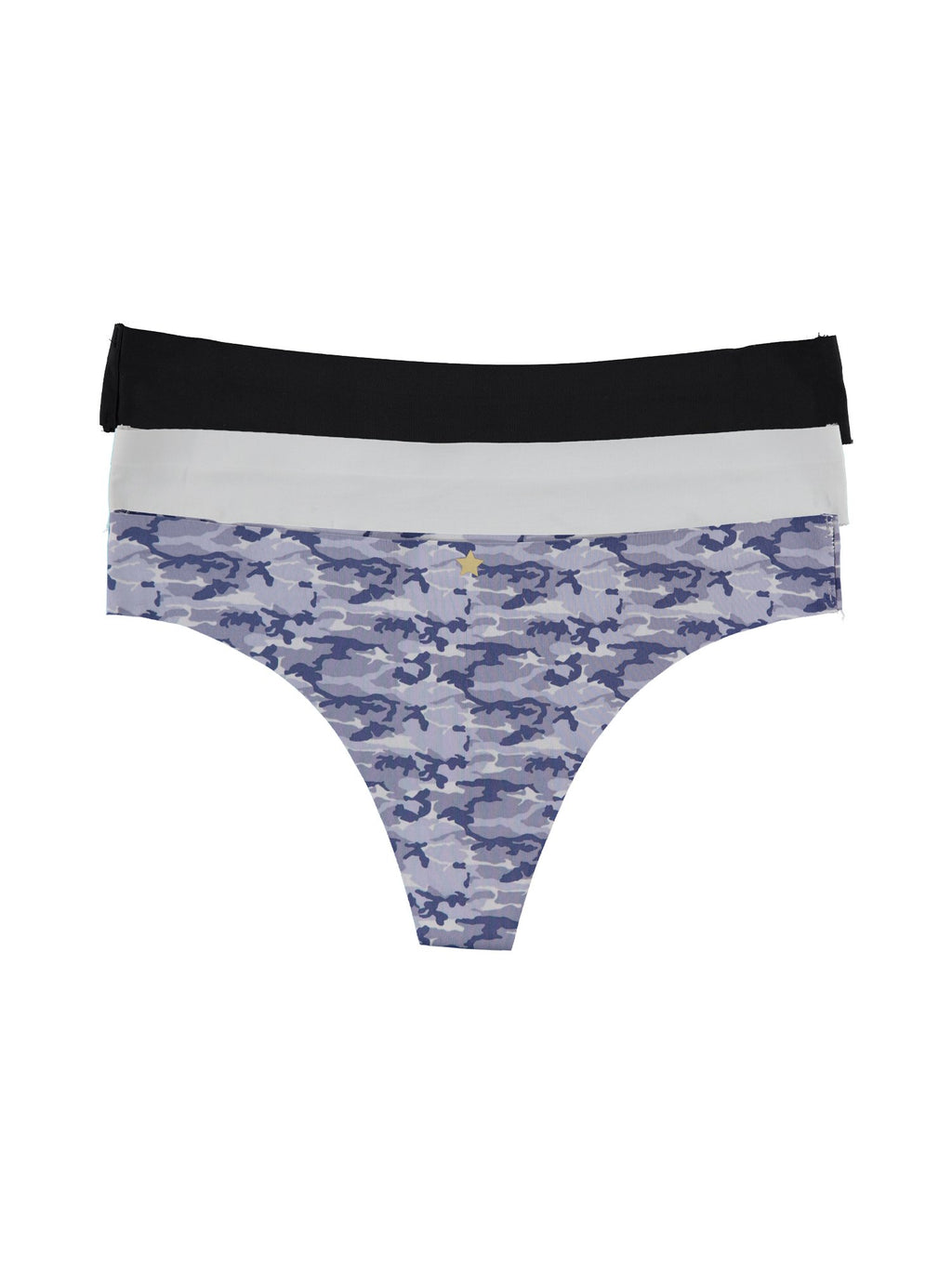 dELiA's Women's Printed/Solid Laser Cut Thong G-String Underwear Panty Pack, Soft, Comfortable, Stretch, Seamless Panties Blue Camo Combo