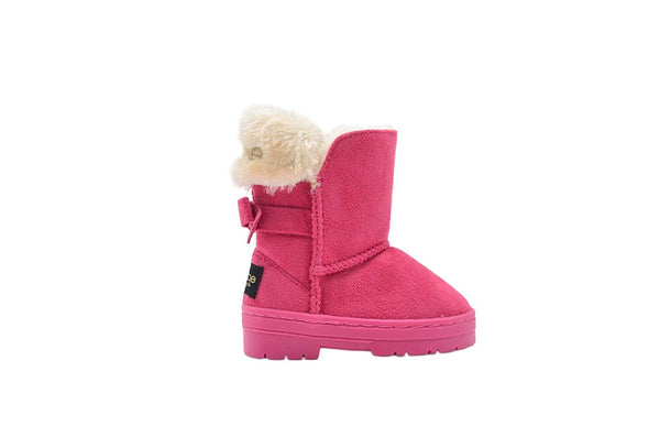 bebe Toddler Girls Little Kid Mid Calf Easy Pull-On Microsuede Winter Boots Embellished with Faux Fur Cuff and Back Bow