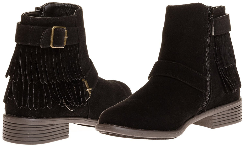 Sara Z Ladies Faux Suede Boot with Fringe and Buckles (See More Colors & Sizes)