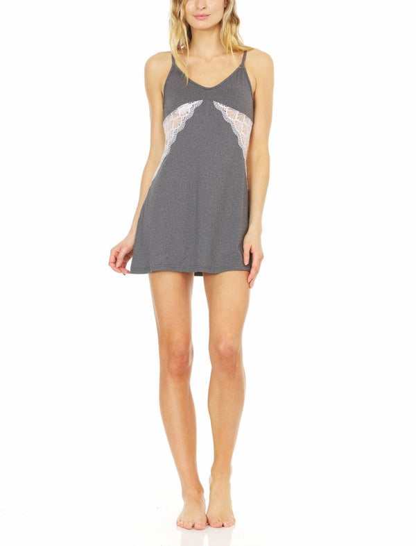 "Laundry by Shelli Segal Womens Yummy Jersey Chemise Nightdress | Elegant Lightweight Sleepwear w/ Waist Lace Detail | Sleeveless Adjustable Straps w/ ""V"" Back Cutout 