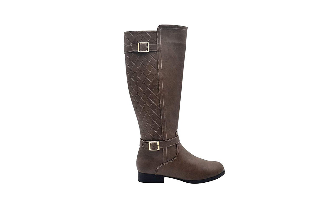 Via Rosa Women's Tall Knee High Dress Boots with Quilted Back Shaft
