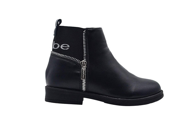 bebe Girls Big Kid Easy Pull-On Short Ankle Moto Boots Embellished with Side Zipper and Elastic Back