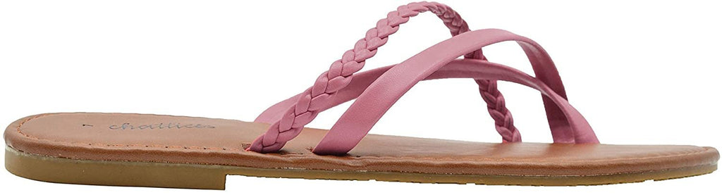 Chatties Ladies Fashion Sandals 10 M US Smooth Pu Thong Slip On Flats with Braid Detail Blush