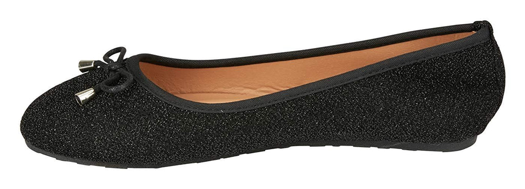 dELiAs Girls Ballet Flats with Bow and Trimming Glitter Mesh Mary Jane Sandals