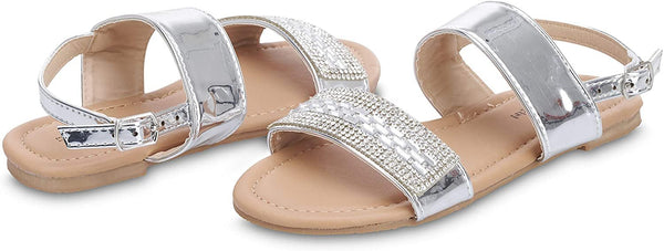 dELiAs Girls Big Kid Mirror Metallic Rhinestone Strap Sandal with Adjustable Back Strap - Fashion Summer Bling Shoes