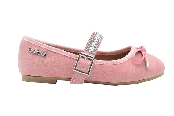 bebe Girls Big Kid Round Toe Mary Jane Dress Slip-On Flat Shoe Embellished with Sparkly Rhinestone Strap and Bow