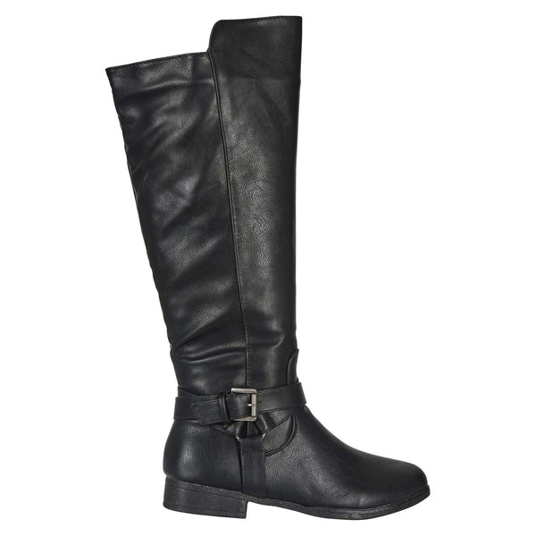 Women's Microsuede Knee-High Riding Boot Buckle Straps Slide-On Fashion Shoes