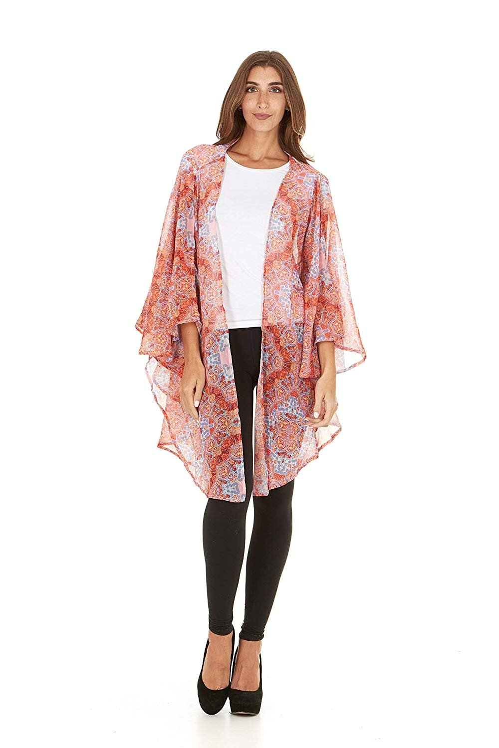 Laundry By Shelli Segal Women Loose Cold Shoulder Kaftan Kimono Cardigan Cape