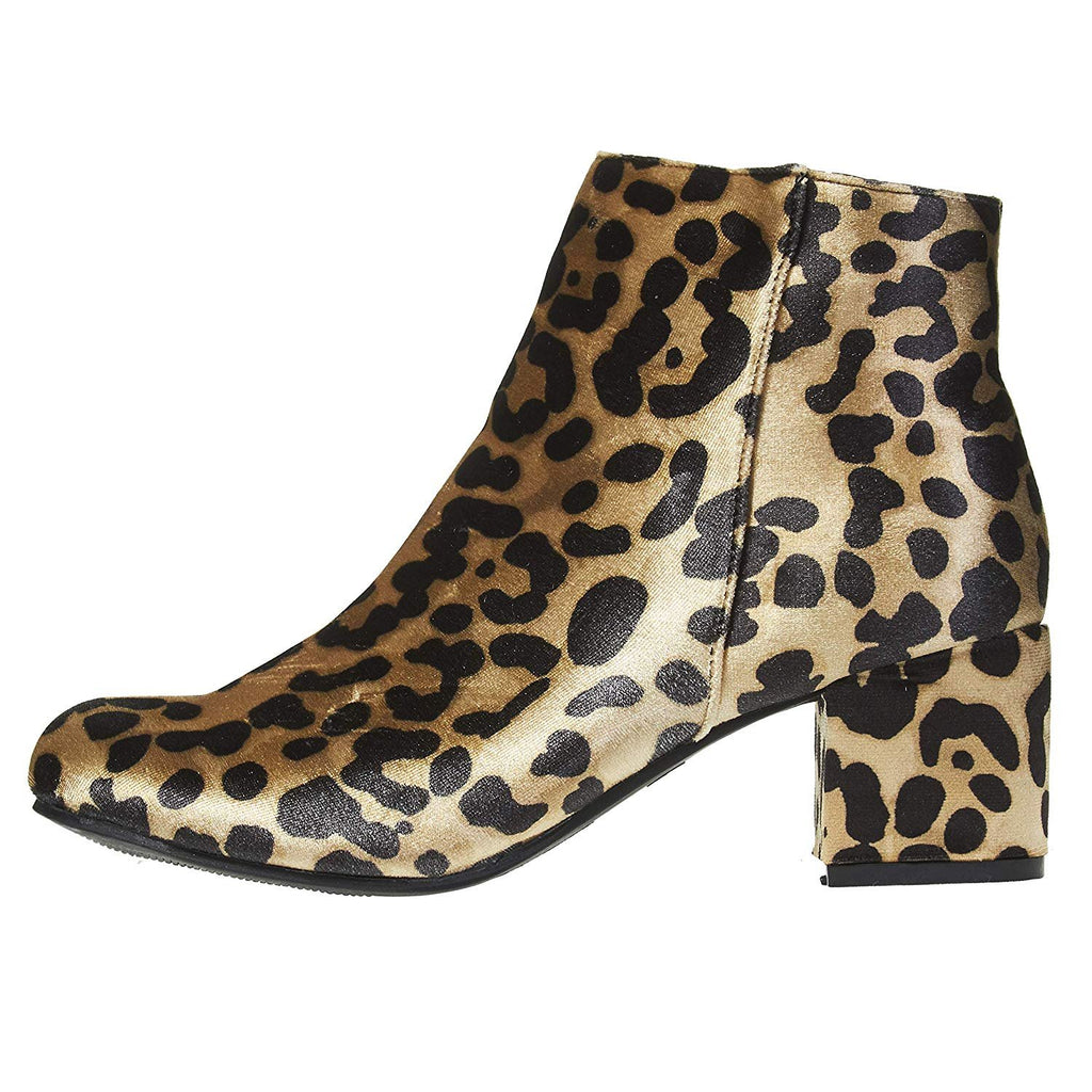 Via Rosa Women's Printed Velvet Ankle Boots with Zipper Mid-Calf