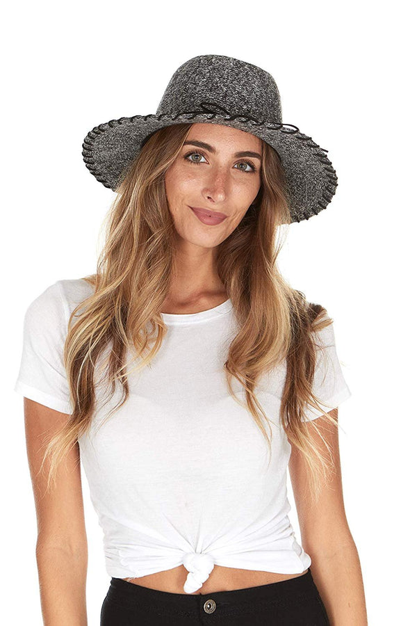 Laundry by Shelly Segal Women's Fedora Hat - Whipstitch Wide Brim Foldable Packable Fall Winter Fashion Hat for Ladies