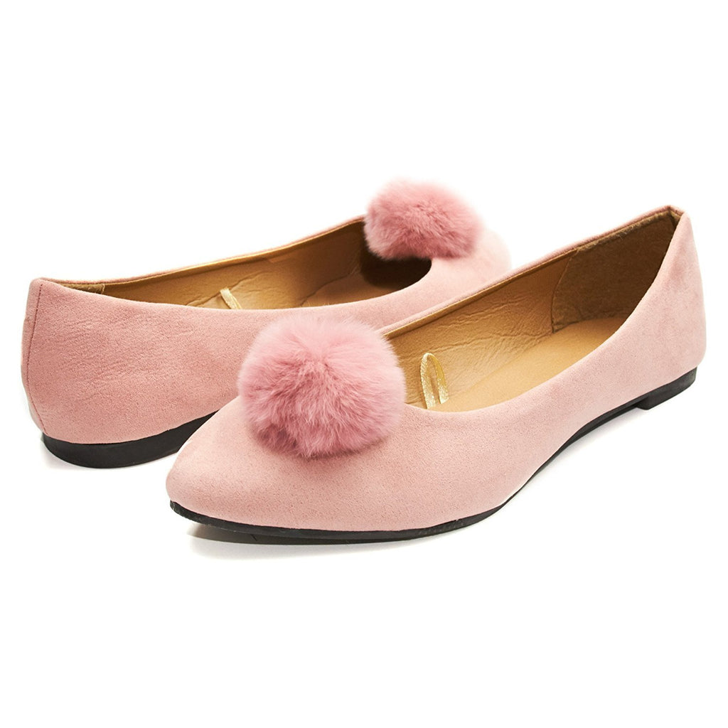 Sara Z Womens Microsuede Velvet Pointed Ballet Flat Shoes With Pom Pom (See More Colors and Sizes)