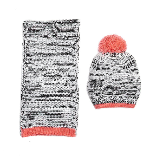 Chatties Marled Knit Beanie And Oblong Scarf Set Pink