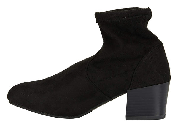 Women's Microsuede Ankle Boots Sock Style Slide-On Mid-Calf Fashion Shoes
