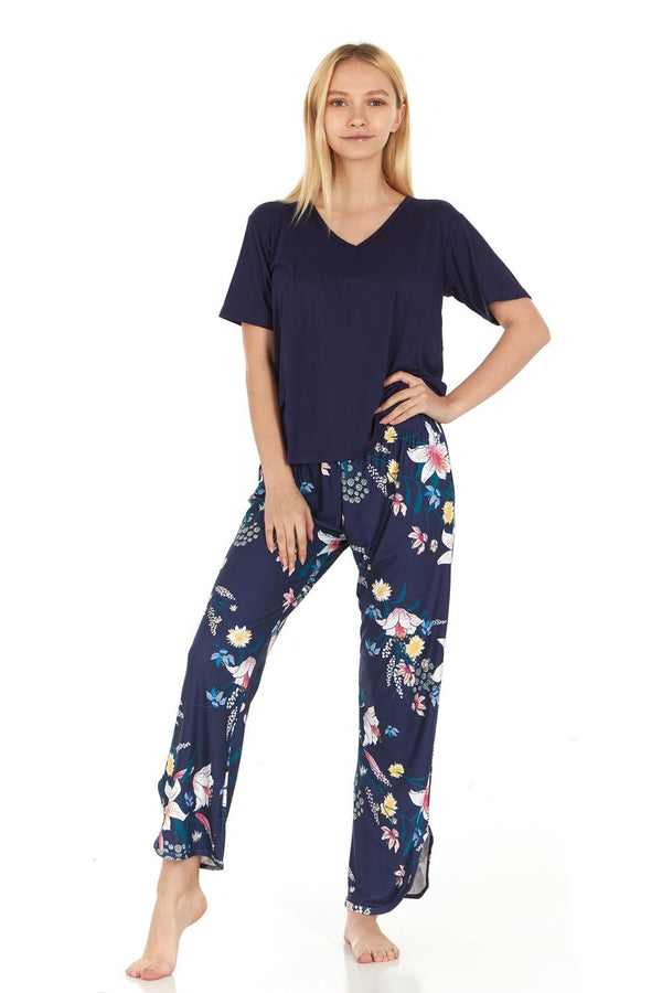 Everyday Koze Harve Benard Sleepwear Womens Pajama Set With V Neck T Shirt
