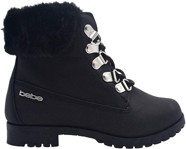 bebe Girls Big Kid Easy Pull-On Lace Up Short Ankle Shimmer Nubuck Boots Embellished with Faux Fur Cuff