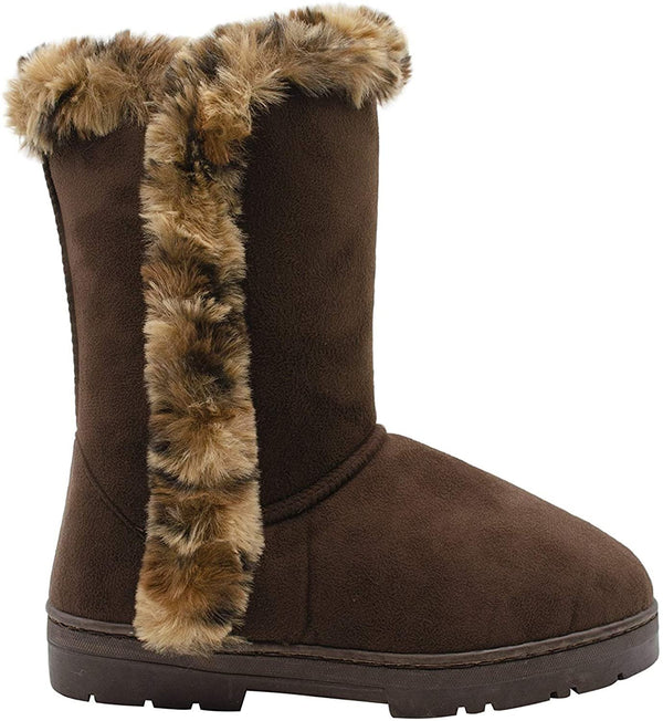 "kensie Womens Slip On Mid High 9"" Microsuede Winter Boots with Leopard Faux Fur Trims"