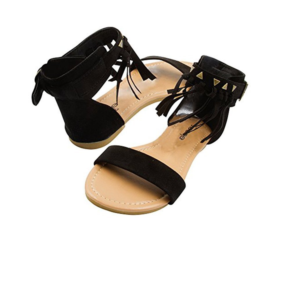 bebe Girls Microsuede Fringe Sandal with Ankle Cuff and Stud Detail