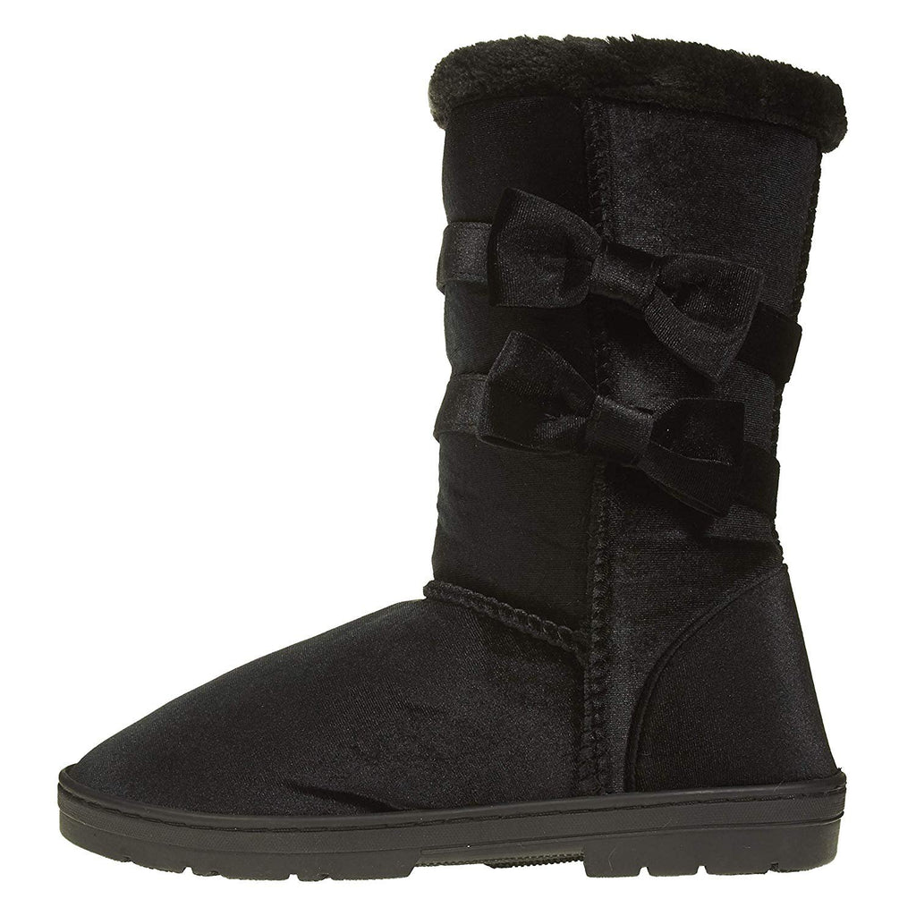 "Chatties Women's 10"" Velvet Winter Boots Fur Trimming Bow Accents Casual Mid-Calf"