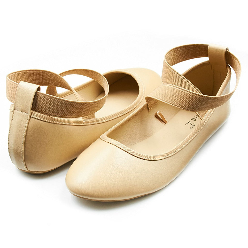 Sara Z Womens Ballet Flat Slip On Shoes with Elastic Ankle Straps Tan Brown Size 5/6