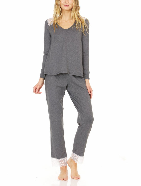 Laundry by Shelli Segal Womens Yummy Jersey Pajama Set | Long Sleeve V-Neck Collar Top & Drawstring Pants Lounge Set w/ Cutout Lace Overlay | Soft Lightweight Sleepwear | Small to Extra Large