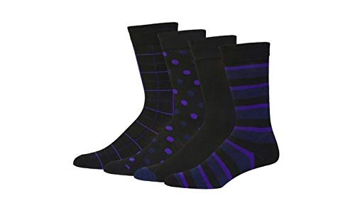 Mens 4 to 12 Pack Cotton Crew Business casual Funky Assortment dress socks