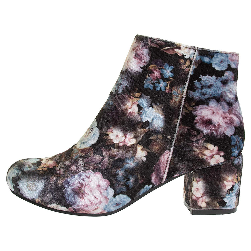 Via Rosa Women's Printed Velvet Ankle Boots Size 9 with Zipper Mid-Calf Fashion Shoes Black Floral