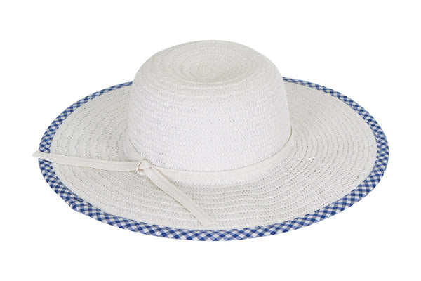 Laundry by Design Women Summer Beach Floppy Travel Gingham Brim Straw Hat