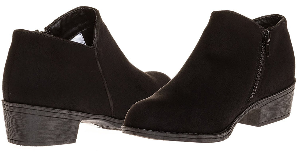 Sara Z Ladies Microsuede Bootie with Side Zipper (Black), Size 7