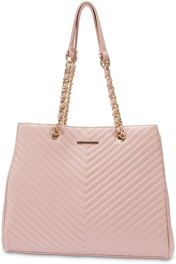 Women's Chevron Shopper Tote with Chain Detail Handles