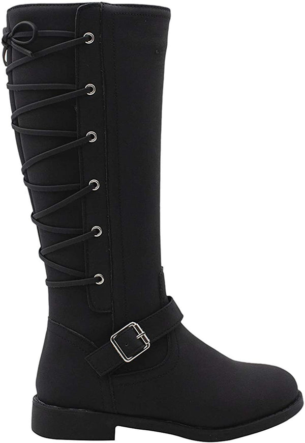 Rampage Girls' Big Kid Slip On Tall Fashion Riding Boots with Lace Up Back