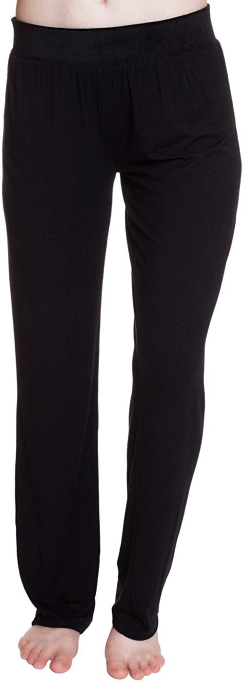 Steve Madden Rayon Jersey Knit Sleep Pants with Velvet Knit Waistband Jet Black - Small