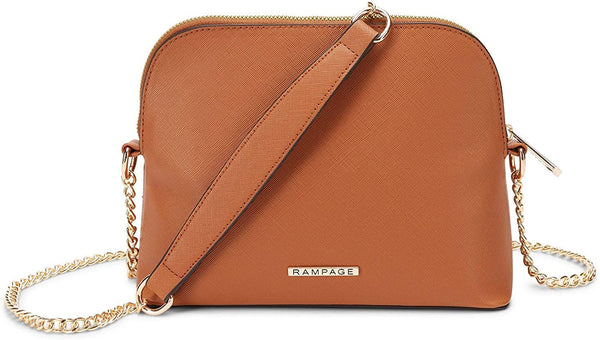 Women's Saffiano Dome Crossbody Bag with Chain Strap