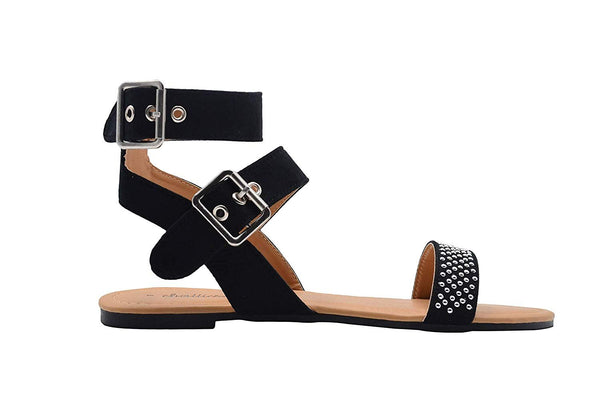 Chatties Ladies Gladiator Double Buckle Gladiator Flats with Studs