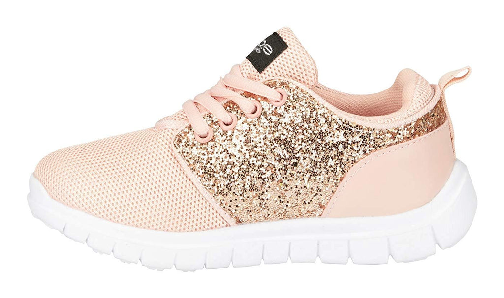 bebe Girls Mesh PU Jogger Sneakers Glitter Panel Comfort Sporty Slip-On Shoes