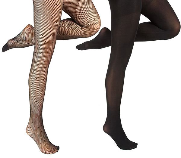Marilyn Monroe Womens Ladies 2Pack Black Polka Dots Fishnet Tights With Solid Opaque (See More Sizes)