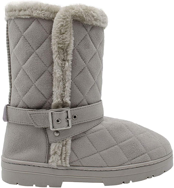 "Chatties Chatz Womens Slip On Mid Calf 8"" Quilted Microsuede Winter Boots with Faux Fur Trims and Buckle Straps"