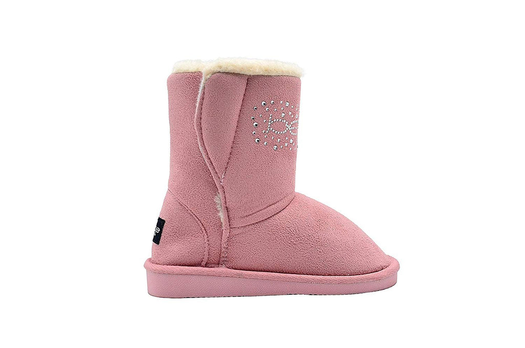bebe Girls Big Kid Mid Calf Easy Pull-On Microsuede Winter Boots Embellished with Sparkly Rhinestones and Faux Fur Trim