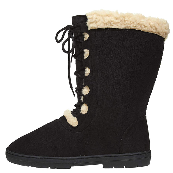 Chatties Women's Winter Boots Lace up Front Fur Trim Casual Mid-Calf Shoes