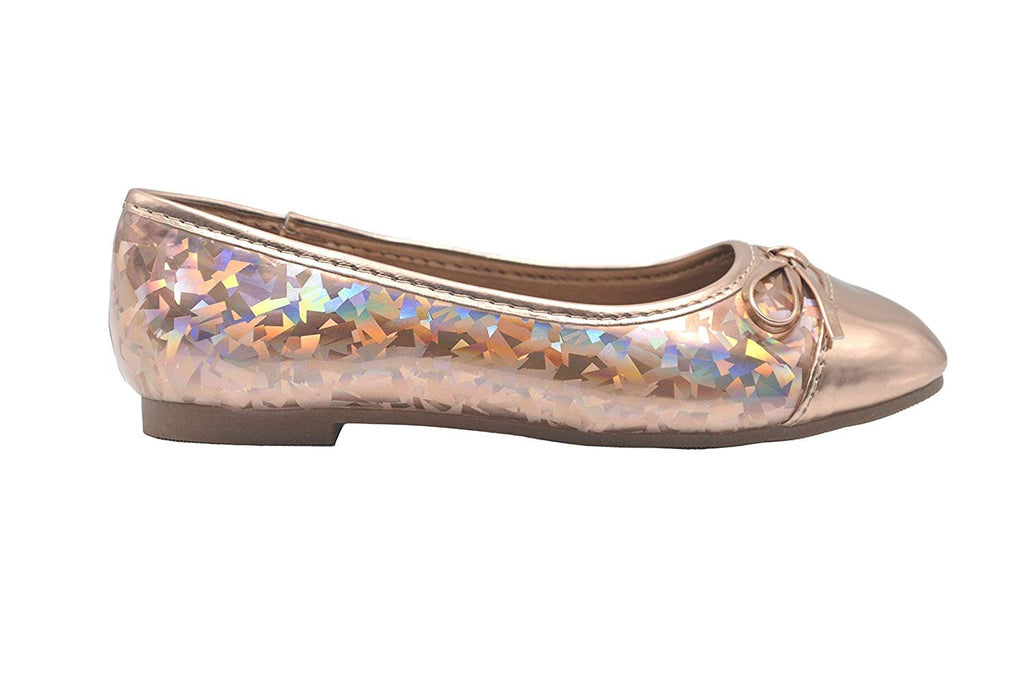 bebe Girls Ballet Flats Little Kid Holographic Glitter Slip On Ballerina Shoes with Bow