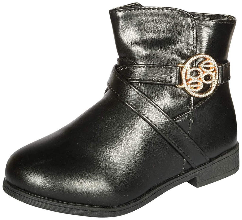 bebe Girls Riding Boots with Medallion 11 Black/Gold