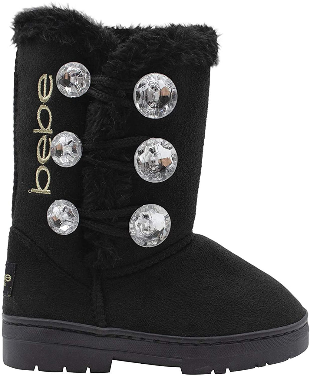 Bebe Girls' Big Kid Slip On Warm Suede Winter Boots with Rhinestone Buttons and Fur Trim