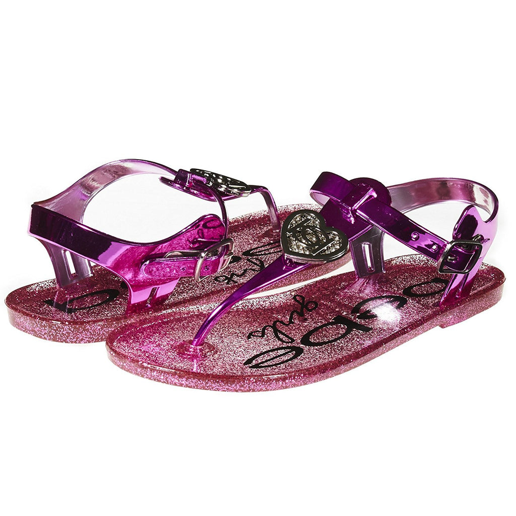 bebe Girls Jelly Thong Slingback Flat Sandal with Rhinestone Blossom (See More Colors and Sizes)