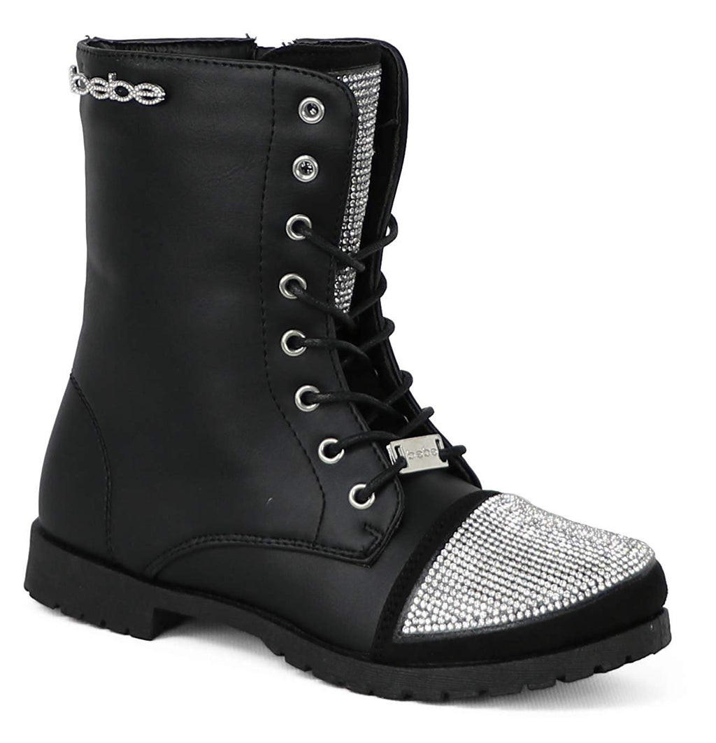 bebe Girls Lace up Combat Boots with Rhinestones Casual Dress Fashion Shoes