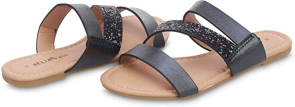 dELiAs Girls Big Kid Metallic Glitter Strap Slide Sandal Open Toe Fashion Summer Bling Shoes